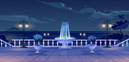 Summer seafront at night time, empty quay with ocean view, fountain, decorative trees, street lamps and vintage fence. Sea nighttime landscape with promenade on resort, Cartoon vector illustration