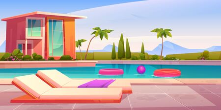 House and swimming pool with deck chairs on poolside and balls in water. Vector cartoon summer landscape with villa, basin on lawn, palms and mountains on background