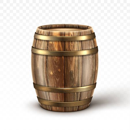 Wooden barrel for wine or beer. Cask from oak wood with copper or iron rings. Vector realistic keg for whiskey, rum or cognac isolated on transparent background