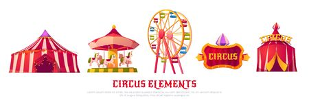 Circus elements with carousel, ferris wheel and tent. Vector cartoon icons of carnival funfair, attractions and amusement park equipment isolated on white background. Summer city entertainment