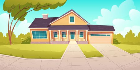 Suburban cottage, residential house with garage. Vector cartoon illustration of village mansion facade. Summer countryside landscape of with private building and tree Banque d'images - 148180918
