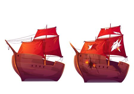 Retro wooden ships with red scarlet sail cartoon vector. Galleon or frigate and broken sailboat after sea battle. Ship in fire with holes in the hull isolated on white background