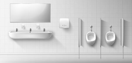 Public male toilet with ceramic urinal, sink and mirror. Vector realistic interior of empty restroom for men with pissoirs, washbasin and hand dryer on white tiled wall. Illustration of lavatory, WC