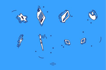 Isometric mobile icons for business, marketing, social media. Vector flat signs of chart, data page, brush and star. Symbols collection for website, application graphic interface on blue background