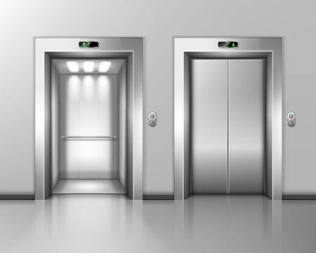 Les portes de l'ascenseur, l'ascenseur se ferment et s'ouvrent. Intérieur du hall de construction avec portes en métal chromé, boutons et panneaux de numéro de scène, transport intérieur dans la maison, le bureau ou l'hôtel, illustration vectorielle 3d réaliste