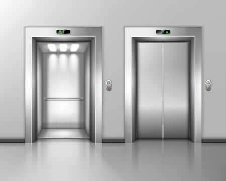 Lift doors, elevator close and open. Building hall interior with chrome metal gates, buttons and stage number panels, indoor transportation in house, office or hotel, realistic 3d vector Illustration