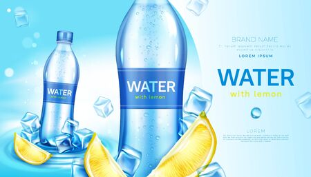 Mineral water with lemon in plastic bottle. Vector realistic brand poster with cold drinking aqua with lime juice on wavy water surface and ice cubes. Promo banner, advertising background