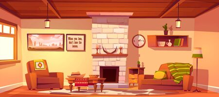 Wild west living room empty interior with western rustic style furniture. Cartoon vector fireplace with horns and candles, couch with plaid, armchair, table, floor lamp, bookshelf and cow skin rag
