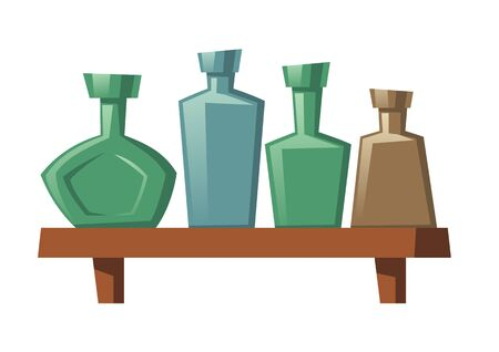 Cartoon glass bottles of various shapes and colors stand on wooden shelf. Vodka, rum, whiskey alcohol drinks empty flasks isolated on white background, element for computer game, vector illustration