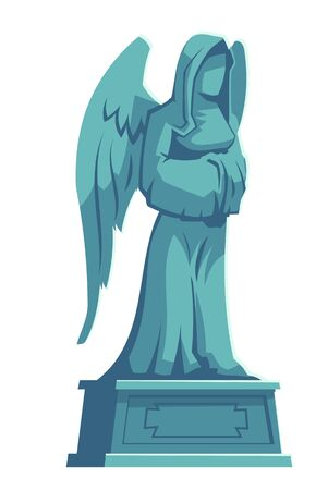 Angel stone figure, cemetery marble tombstone memorial, catholic graveyard, ossuary or crypt rip symbol, gothic statue, halloween illustration isolated white background, cartoon vector icon, clip art Illustration