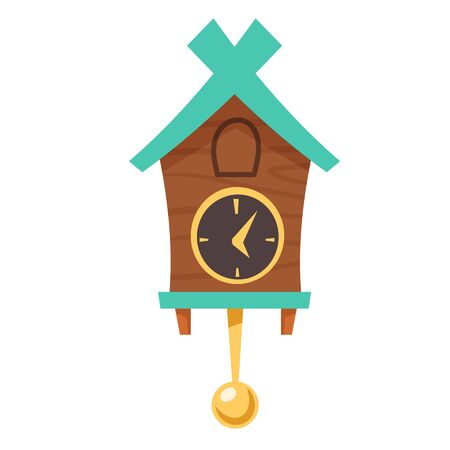 Old cuckoo clock. Vector cartoon illustration of wooden grandfather wall clock with gold pendulum and cabin for bird isolated on white background. Vintage watch with reminder Stock Illustratie