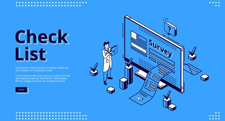 Check list isometric landing page. Business man conduct online survey, paper document go out of pc screen with ticks. Digital checklist, questionnaire, feedback service 3d vector line art web banner Ilustracje wektorowe