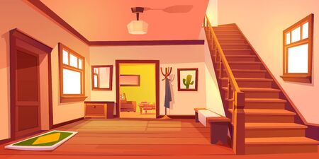 Rustic house hallway entrance interior with wooden stairs and furniture. Western style apartment with door, hanger, carpet, cowboy hat on table and cactus picture on wall. Cartoon vector illustration. Vector Illustratie