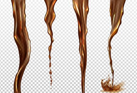 Cola splash. Vector realistic mockup of streams of black coffee, tea, whiskey or beer. Twisted flow of brown drink with splash and drops isolated on transparent background Ilustración de vector