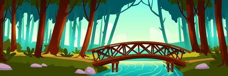 Wooden bridge crossing river in forest. Vector background of nature landscape with green trees, trail and wood bridge above brook. Cartoon illustration of summer wild park or garden with walkway  イラスト・ベクター素材