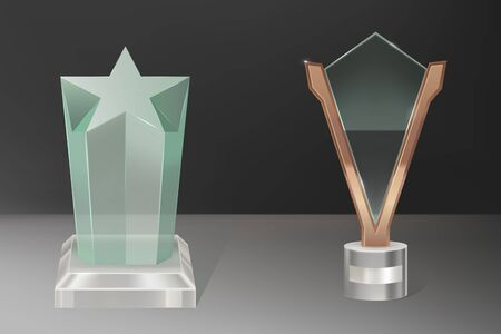 Glass trophy, transparent winner award with star shape crystal and plate in brass frame. Vector realistic blank clear acrylic prizes to best film, achievement, sport victory or academy success.