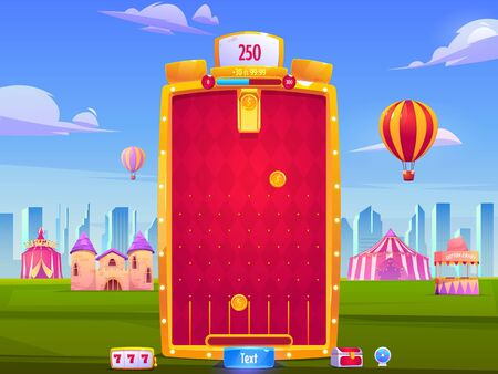 Mobile game app background, application vertical interface. Ui or Gui arcade with city fair, golden coins falling to slots on red field, medieval castle and big top tent, cartoon vector illustration Ilustración de vector