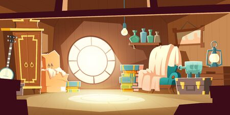 House attic with old furniture, cartoon vector background. Attic interior in wooden house with round window under roof, day sunlight on floor and retro furniture with wardrobe, chair, storage boxes Illustration