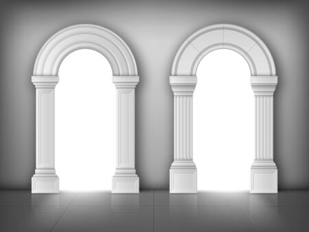 Arches with columns in wall, interior gates with white pillars in palace or castle, archway frames, portal entrance, antique doorway with sun light going from outside. Realistic 3d vector illustration