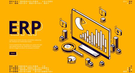 ERP, enterprise resource planning isometric landing page. Productivity and improvement system, data analysis charts on pc monitor, business integration 3d vector illustration, web banner, line art 矢量图像