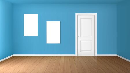 Empty room with white closed door, wooden floor, blue walls and blank posters. Vector realistic modern interior of home hall, office or studio with white banners for pictures