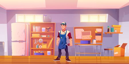 Repairman in garage with equipment for carpentry and repair works. Vector cartoon mechanic or builder in workshop or storeroom with construction tools, table and shelves with instruments
