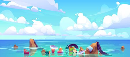 Pollution sea by plastic trash, garbage in water. Vector cartoon landscape of ocean with floating dirty waste, bottles, bags, rubbish. Ecological problem of polluted environment