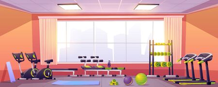Sport and fitness equipment in gym. Vector cartoon interior of training club with running track, exercise bike, bench, fitness balls, dumbbells and yoga mat. Empty workout room