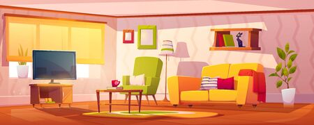 Spring interior of living room with sofa, armchair, bookshelves and tv. Vector cartoon illustration of lounge with coffee table, carpet, floor lamp and house plants