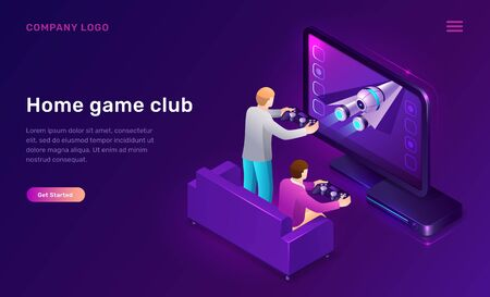 Home game club isometric concept vector illustration. 3D icon console, station for video games and two men players with joysticks in their hands, leisure home interior isolated on purple web banner.