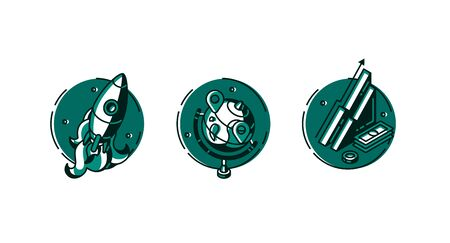 Round icons set rocket take off, globe with gps pins and isometric data analysis or finance growth chart and money isolated on white background, green color line art flat vector illustration, clip art