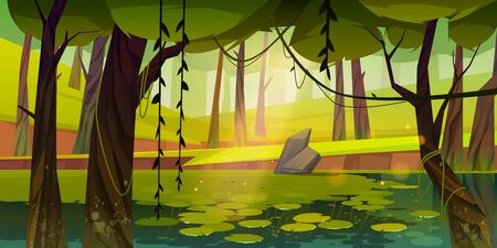 Swamp or lake with water lilies in forest. Nature landscape with marsh in deep wood. Computer game background, fantasy mystic scenery view with wild pond covered with ooze, Cartoon vector illustration