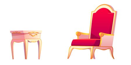 Royal chair and bedside table for luxury bedroom interior. Vector cartoon set of vintage furniture, night stand with drawer and golden armchair with red upholstery isolated on white background 矢量图像