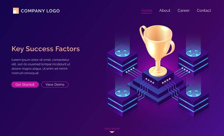 Key success factors, isometric business concept vector. Gold trophy cup on pedestal with traffic server connections, database neon icons on purple banner. Computing analytical service for winner 일러스트