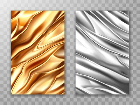 Foil golden and silver, crumpled metal texture background, aluminum gold and steel colored folded wrapping paper sheets, wrinkled fabric or plastic shiny material, Realistic 3d vector illustration