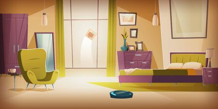 Automatic wireless vacuum and window cleaners working in bedroom with bed and furniture. Empty apartment interior with household technologies of future, home innovation Cartoon vector illustration