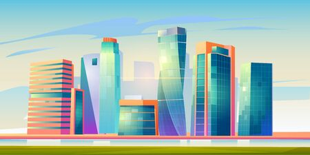 Urban cityscape panoramic banner vector cartoon illustration with buildings, city skyline with skyscraper and tower architecture, megapolis landscape, town scenic background witn river bank and clouds