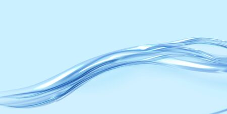 Fresh clean water flowing wave. Vector illustration with realistic clear blue aqua splash, water background. Flow of pure liquid drink