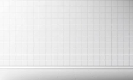 White tile wall and floor in bathroom vector seamless background, empty kitchen or toilet interior room with square mosaic surface, ceramic tiled grid pattern, bath decor, Realistic 3d illustration Векторная Иллюстрация