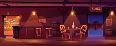 Cowboy saloon, western retro bar empty interior with dim light, furniture and stuff. Wooden swing door, table, chair and desk, barrels, glass bottles, lantern and welcome signboard. Cartoon vector Vectores