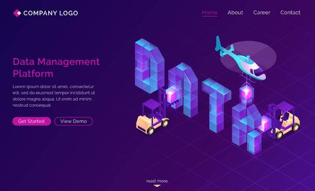 DMP, Data management platform isometric landing page. Collecting and managing businesses information to identify audience segments. Helicopter and forklifts building info blocks 3d vector web banner