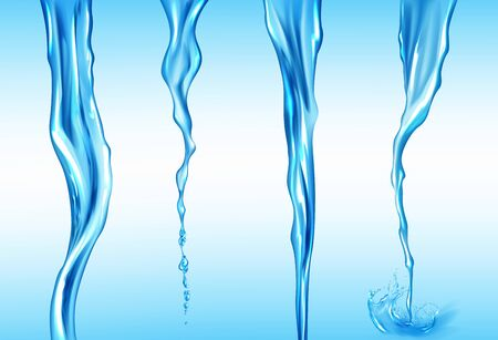 Water streams set, isolated flow motion of pure liquid with drops and splashes on blue background. Dynamic transparent pouring aqua jet, drink, waterfall or river spate, Realistic 3d vector clipart