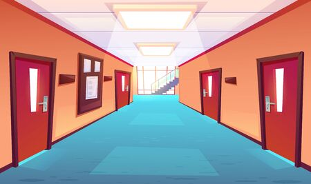 School corridor, hallway of college or university. Empty interior with closed doors, timetable board, floor-to-ceiling window, stairs perspective view. Educational campus, cartoon vector illustration