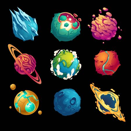 Fantastic planets, cartoon galaxy ui game asteroids set. Cosmic world, alien space design elements. Earth, satellite with rings, frozen ice, craters and technology comets surface. Vector illustration Ilustracje wektorowe