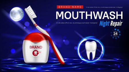Dental floss, toothbrush and tooth in glowing sphere on water surface at night. Vector realistic brand poster with product for dental care, night repair mouthwash. Promo banner, advertising background