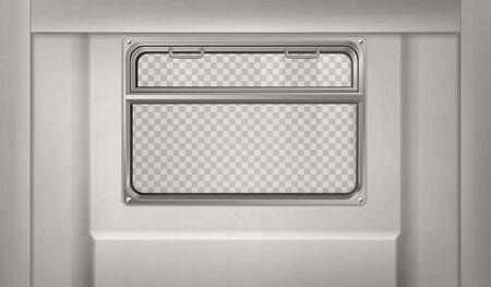 Train wagon interior with window and gray wall. Vector realistic clear glass window with metal frame and handles in metro, passenger compartment in railway transport with transparent background