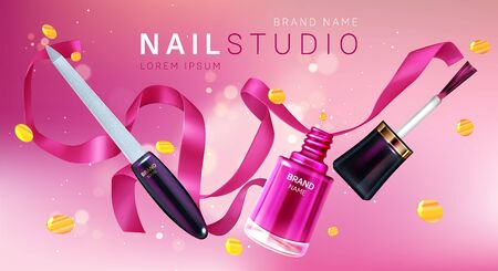 Manicure studio brand poster. Vector realistic nail polish in open glass bottle, brush with pink lacquer and nail file with silk ribbon and golden confetti. Promo banner, advertising background