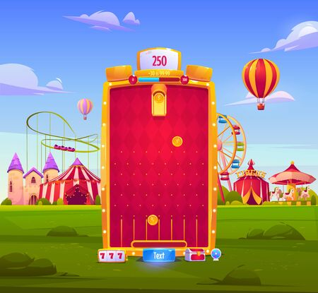 Mobile game app background, application vertical interface. Ui or Gui arcade with attraction park or fair, gold coins fall to slots on red field, castle and circus big top, cartoon vector illustration Vectores