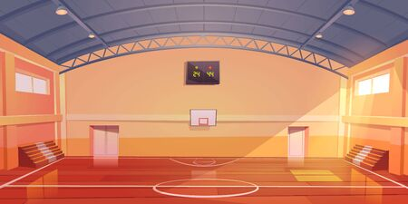 Basketball court interior, sports arena or hall for team games with hoop, wooden floor, scoreboard and empty fan sector seats. Indoor stadium illuminated with sunlight, cartoon vector illustration
