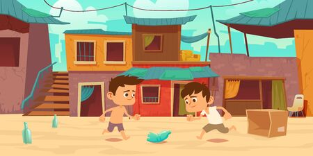 Kids in ghetto playing football with old plastic bottle and carton box. Children play soccer at slum area with huts buildings with curtains and cracked walls. Poor district Cartoon vector illustration Vektoros illusztráció